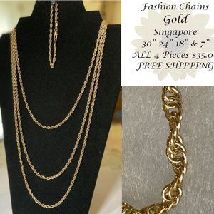 4 Piece Gold Singapore Link Chain Set